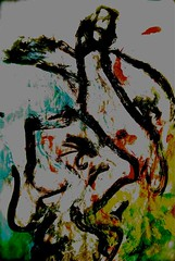 """illustrations to poems, #2 of sixteen: """"When did the world begin?""""* may 2011 (THE ART OF STEFAN KRIKL) Tags: poetry abstractart modernart paintings illustrations drawings wisdom"""