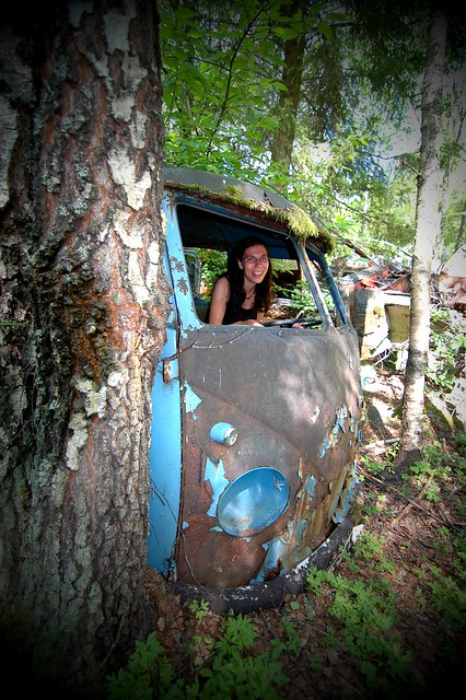 Tanja in an old VW Splitty bus