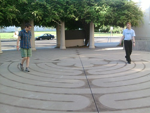 The Monkeys doing the labrynth in front of Pioneer church.