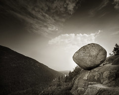 A fine balance (IrenaS) Tags: blackandwhite mountains nature monochrome rock landscape maine balance acadianationalpark southbubble wwwirenesuchockicom