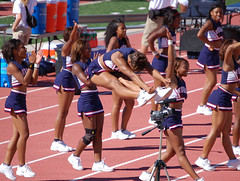 Aerial Acrobatics (E.Peoples) Tags: blue cheerleaders events bison 2007 howarduniversity bcf hbcu sportingevents meac howardbison blackcollegefootball mideasternathleticconference blackcollegesportsblackcollegeathletics