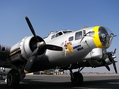 B-17 at Fresno (Dusty_73) Tags: liberty flying aircraft aviation b17 fresno belle boeing fortress warbird libertybelle