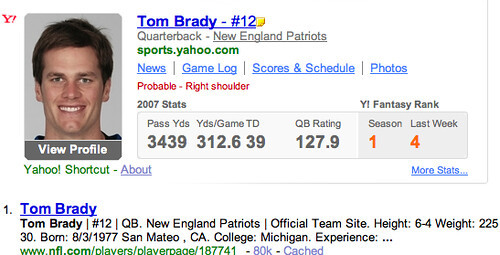 Structured Search: Yahoo Search Sports