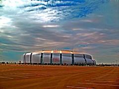 Are You Ready For Some Football? (oybay) Tags: blue arizona sky newyork phoenix clouds football parkinglot skies glendale stadium empty newengland blueskies superbowl universe supersunday smrgsbord xlii supershot abigfave universityofphoenixstadium centerofthe