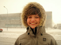 Totally Icelandic! (jla ) Tags: snow girl beautiful smile weather iceland crazy reykjavik jana 66north