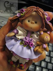 Handmade Collectible Doll (in my hand) (marytempesta) Tags: pink ruffles purple heart teddy handmade clay ladybugs teddybears polymer katoclay