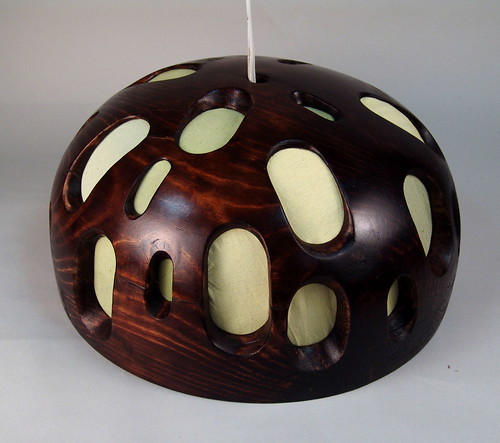 wood and fabric lamp
