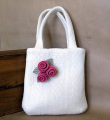 Flirty Floral Handbag (FeltSewGood) Tags: flower wool rose pin sewing crafts brooch handbags purses upcycle feltedwool recycledwoolsweaters feltsewgood