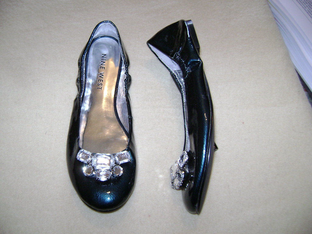 Nine West deep green metallic pumps embellished with white stones