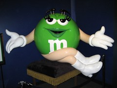 Green M&M (pr0digie) Tags: green statue mms sitting candy lasvegas chocolate
