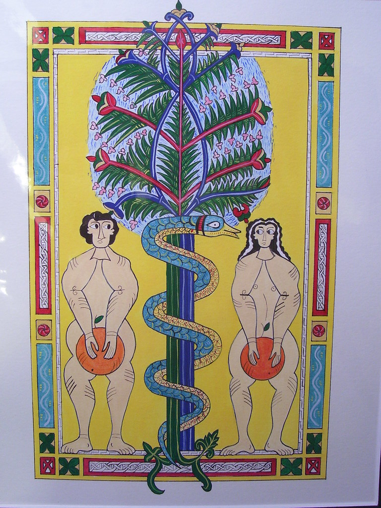 Adam and Eve with Oranges. A fun piece painted for a themed A&S competition. Inspired by f. 18 of Escorial Beatus, Fall of Adam and Eve. In Early Spanish Manuscript Illumination (Braziller: NY, 1977). Late 10th century?