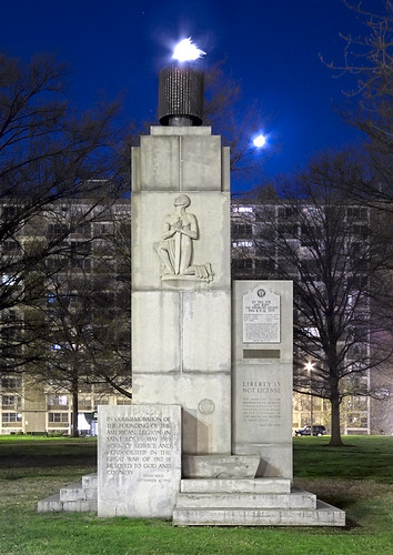 American Legion Monument at night, in downtown Saint Louis, Missouri, USA