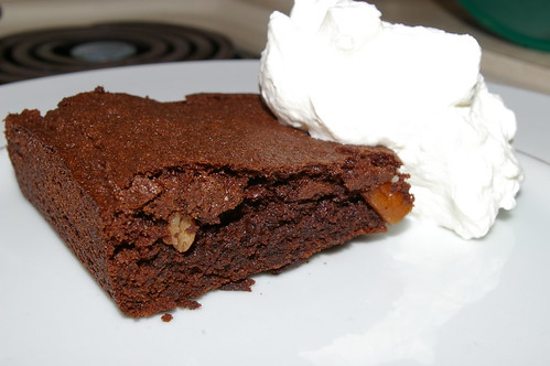 Brownie and whipped cream