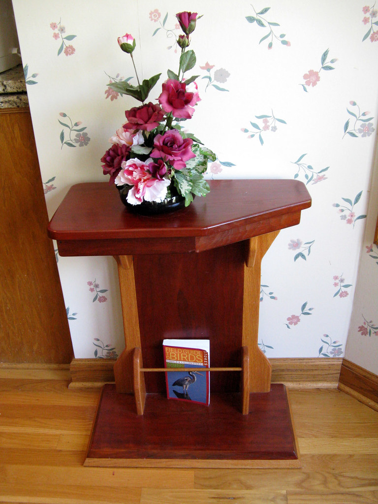 Tip-proof Cantilever Cherry End Table