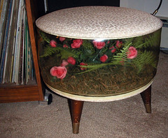 pouf (Meredith Jones) Tags: flowers roses plastic 1960s pouf