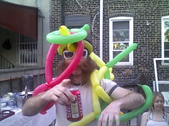 the seat of dog (brainware3000) Tags: cameraphone beer nycpb balloons backyard eric bbq tecate ribs astoria blackjack dogseat balloonanimals jessicasbday handheldmobile
