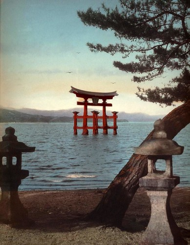 THE GREAT TORII AT MIYAJIMA -- A Classic Scene in Old (and New) Japan