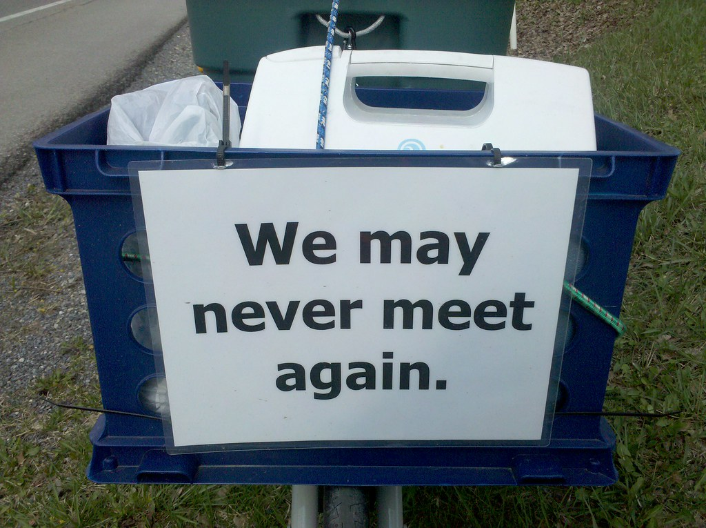 The sign on the front of my cart