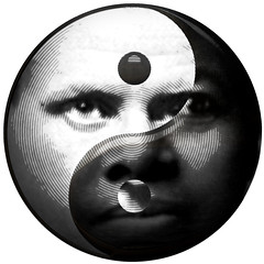 Yin Yang: Femininity/Masculinity, Black/White - Illustration (DonkeyHotey) Tags: sky sun moon white black hot cold male wet water female illustration photomanipulation fire photo soft slow earth hard fast dry manipulation nighttime daytime aggressive yinyang focused passive masculinity yinandyang commentary solid diffuse femininity politicalcommentary yielding donkeyhotey