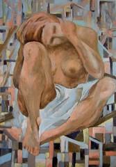 Harmonia (Evatce) Tags: woman eva sitting feminine paintings thinking pinturas tome quadrados