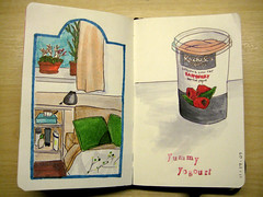 Moleskine - Home and Yogourt (chicgeekuk) Tags: shadow laura colour moleskine home window ink paper notebook yummy bed drawing room sketchbook rachels marker organic markers copic kishimoto yogourt copicmarker laurakishimoto laurakishimotoca
