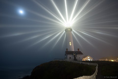 Pigeon Point Lighthouse (Tyler Westcott) Tags: longexposure moon fog night fence explore pacificocean pigeonpoint pacificcoast fresnellens sanmateocounty pigeonpointlighthouse nikond40