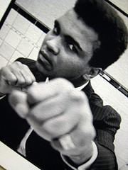 Ali Poster (Hagoody) Tags: newyorkcity white newyork black closeup poster office desk manhattan cubicle midtown fist stare punch muhammadali dcor