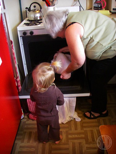 putting the turkey in the oven