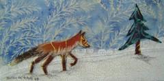 Little Red Fox on her Way - Original fabric on wood art (shellieartist) Tags: wood blue original red white snow tree art nature animal woods little handmade fabric fox etsy