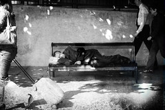 (Victoriano) Tags: poverty street sleeping england people bw house man station wow bench lights homeless poor dream social trainstation tired oxford society dreamt oxfordtrainstation society1 deaming flogr