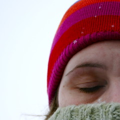 day229: happy holidays (mygigi) Tags: winter sky selfportrait snow cold color eye me hat square outside daylight sweater closed stripes sp gigi format turtleneck squared day229 365days utata:project=tw89 somenumberofdaysinayear