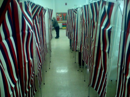 NH: Red, White and Blue polling place