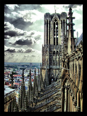 HDR Cathedral (Steven2358) Tags: sky france clouds cathedral notredame cathdrale reims hdr cathdral fuhdr