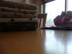 Ella, admiring mommy's new fabric