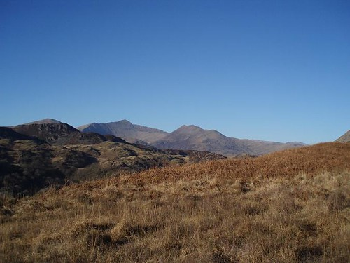 The first views of Snowdon, from below Llyn yr Arddu