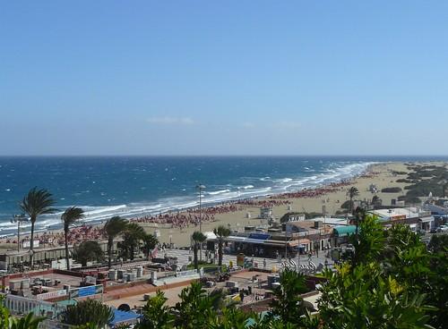 Het strand van Playa del Ingles op Gran Canaria