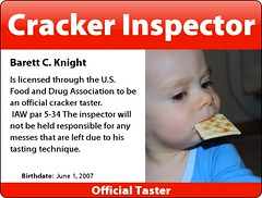 Cracker Inspector (Termite Toothpick) Tags: badge cracker barett