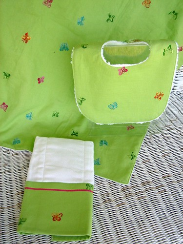 3 piece green butterfly set