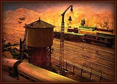 Water tower and train yard (Bama4) Tags: texture layout watertower tracks layers photoart modeltrains freightcars