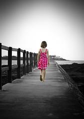 I'm walkin away. la la la (Millie80) Tags: pink beach girl jetty selectivecolour