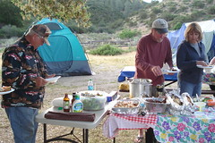 let the buffet begin (maureenld) Tags: california camping friends dinner fun bash dick may db harley nancy buffet annual 39 pinnacles pinnaclesnationalmonument bethereorbesquare 2011 desertbash 39thannual