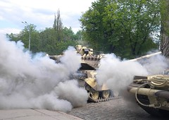 Now, who is guilty for Global Warming! -  ,      (Victor_N_Dashkiyeff) Tags: ussr kharkiv kharkov ukraine soviet army military parade vday victory main battle tank mbt panzer t64 bulat damask steel vehicle track tracked          64