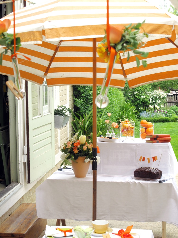 Orange courtyard party