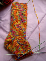 WIP - Pomatomus Socks in Multicolor (lilyaknits) Tags: sock wip knitty pomatomus