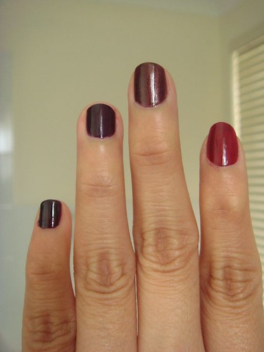 OPI dark delights on fingers