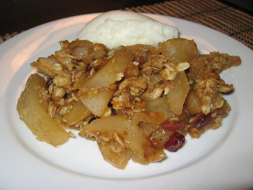 Pear and Cranberry Crumble