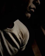 white t shirt (marcelo ds) Tags: light portrait white man male luz self canon dark perfil retrato tshirt explore marce hombre 2b 400d marcelodasilva marce