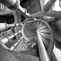 Saint Mary, Studley Royal B&W (fotofacade) Tags: white black saint spiral yorkshire mary version royal staircase saintmarys spiralstaircase upshot studleyroyal studley abigfave fotofacade