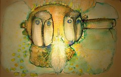 winter summer owls - the shaman's journal (hialoakapua) Tags: travel santafe color art water watercolor painting corn paint image turtle spirit release joy journal feather blessing soul passion myart medicine healing shaman owls rattle wellness shamanism healer 2dart eaglefeather hialoakapua shamanicart rosslewallen wwwrosslewallencom