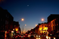 Twilight Traffic Moon (MacGBeing) Tags: street nightphotography ireland dublin moon trafficlights 35mm geotagged twilight traffic dusk streetlights junction rushhour f5 thenorthside crescentmoon gloaming 30d waxingmoon dublin1 streetatnight manualexposure 10faves canoneos30d dorsetstreet waxingcrescentmoon canonefs1785isusm morelikeeveningphotography streetintheevening